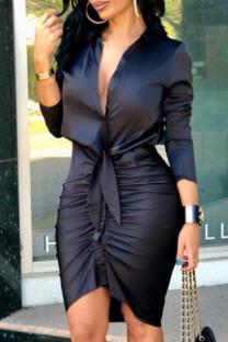 Black Fashion Street Print Split Joint V Neck Irregular Dresses