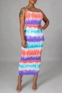 Gradient Color Fashion Sexy Print Backless Slit Spaghetti Strap Long Dress