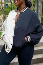 White Casual Patchwork Buckle Mandarin Collar Outerwear