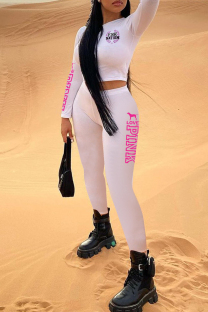 White Casual Sportswear Letter Print Basic O Neck Long Sleeve Two Pieces
