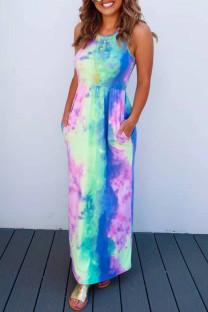 Colour Sexy Casual Tie Dye Printing O Neck Vest Dress