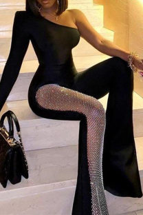 Black Fashion Casual Solid Split Joint Regular Jumpsuits