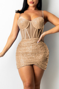 Apricot Sexy Solid Split Joint See-through  Sequins Spaghetti Strap Sling Dress Dresses