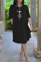 Black Casual Print Split Joint O Neck Cake Skirt Dresses