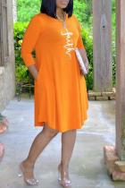 Tangerine Red Casual Print Split Joint O Neck Cake Skirt Dresses