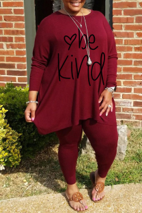 Burgundy Fashion Casual Letter Print Basic O Neck Plus Size Two Pieces