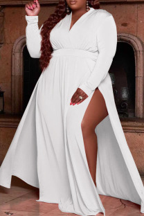 White Casual Solid Split Joint V Neck Straight Plus Size Dresses