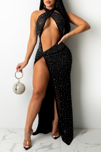 Black Sexy Hot Drilling Hollowed Out Backless Slit Halter Sleeveless Dress