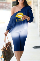 Blue Casual Gradual Change Print Split Joint Off the Shoulder Long Sleeve Two Pieces
