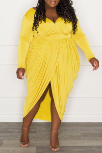 Yellow Sexy Solid Split Joint Fold Asymmetrical V Neck Plus Size Dresses