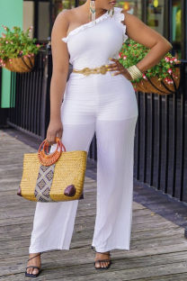 White Sexy Casual Solid Split Joint Backless One Shoulder Regular Jumpsuits (Without Belt)