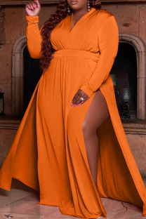 Tangerine Red Casual Solid Split Joint V Neck Straight Plus Size Dresses