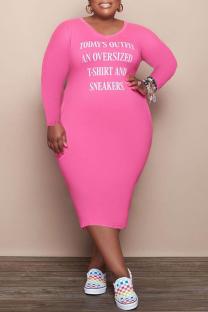 Pink Fashion Casual Letter Print Basic V Neck Long Sleeve Plus Size Dresses