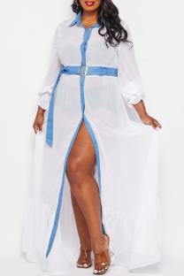 White Fashion Casual Plus Size Solid Split Joint Turndown Collar Shirt Dress