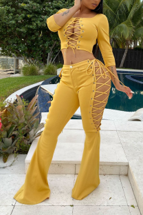Yellow Sexy Solid Hollowed Out Square Collar Long Sleeve Two Pieces