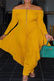 Yellow Casual Solid Split Joint Zipper Off the Shoulder Plus Size Jumpsuits