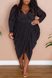 Black Sexy Solid Split Joint Fold Asymmetrical V Neck Plus Size Dresses
