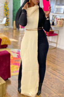 Apricot Fashion Casual Solid Slit Turtleneck Sleeveless Dress (Without Waist Chain)
