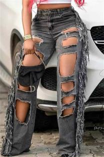 Black Gray Fashion Casual Solid Tassel Ripped High Waist Regular Jeans