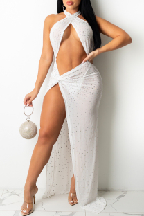 White Sexy Hot Drilling Hollowed Out Backless Slit Halter Sleeveless Dress
