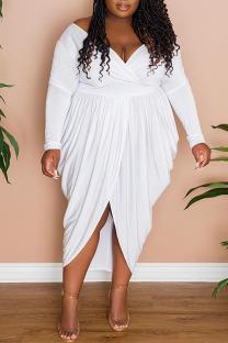 White Sexy Solid Split Joint Fold Asymmetrical V Neck Plus Size Dresses