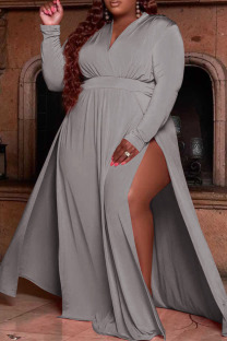 Grey Casual Solid Split Joint V Neck Straight Plus Size Dresses