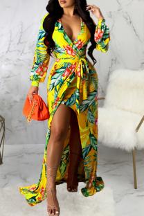 Yellow Sexy Print Split Joint V Neck Irregular Dress Dresses