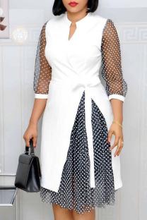 White Fashion Street Polka Dot Split Joint V Neck A Line Dresses