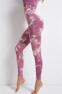 Fuchsia Casual Sportswear Print Basic High Waist Yoga Trousers