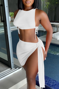 White Sexy Solid Split Joint O Neck Sleeveless Two Pieces