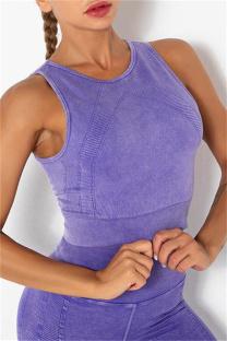 Purple Casual Sportswear Solid Vests