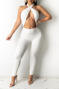 White Fashion Sexy Solid Hollowed Out Without Belt Halter Skinny Jumpsuits