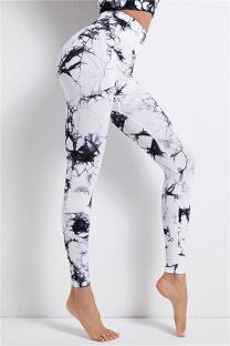 White Casual Sportswear Print Basic High Waist Yoga Trousers