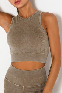 Coffee Casual Sportswear Solid Vests