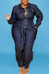 Deep Blue Casual Solid Split Joint Buckle Buttons With Belt Turndown Collar Plus Size Jumpsuits