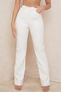 White Fashion Casual Solid High Waist Straight Trousers