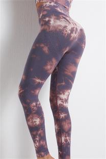 Purple Casual Sportswear Print Basic High Waist Yoga Trousers