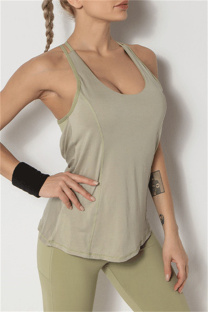 Green Casual Sportswear Solid Backless Yoga Vest Top