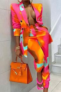 Yellow Fashion Casual Print Cardigan Pants Turndown Collar Long Sleeve Two Pieces