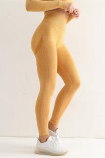 Yellow Casual Sportswear Solid Basic High Waist Yoga Trousers