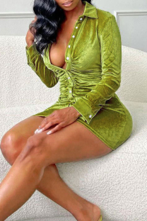Green Fashion Sexy Solid Buttons Turndown Collar Long Sleeve Dresses