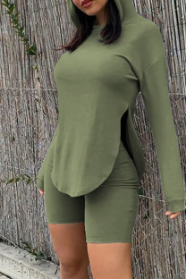 Green Fashion Casual Solid Slit Hooded Collar Long Sleeve Two Pieces