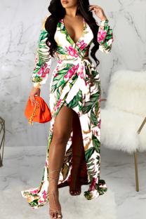 White Sexy Print Split Joint V Neck Irregular Dress Dresses