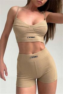 Khaki Sexy Sportswear Solid Split Joint Backless Two-piece Set
