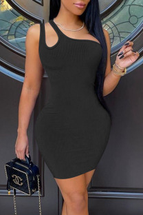 Black Casual Solid Hollowed Out Split Joint Oblique Collar Pencil Skirt Dresses