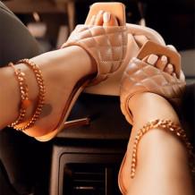 Khaki Fashion Solid Color Split Joint Heel