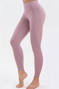 Purple Casual Sportswear Solid High Waist Butt-lifting Yoga Trousers