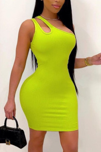 Green Casual Solid Hollowed Out Split Joint Oblique Collar Pencil Skirt Dresses