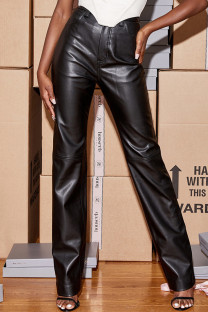 Black Fashion Casual Solid High Waist Straight Trousers