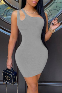 Grey Casual Solid Hollowed Out Split Joint Oblique Collar Pencil Skirt Dresses